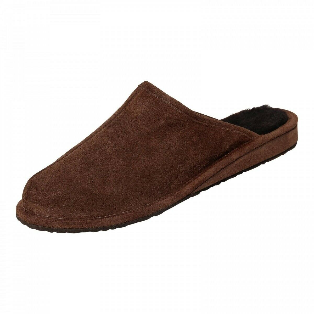Hollert Men's Lamb Wool House shoes Bodo Brown Slippers Real Leather Breathable