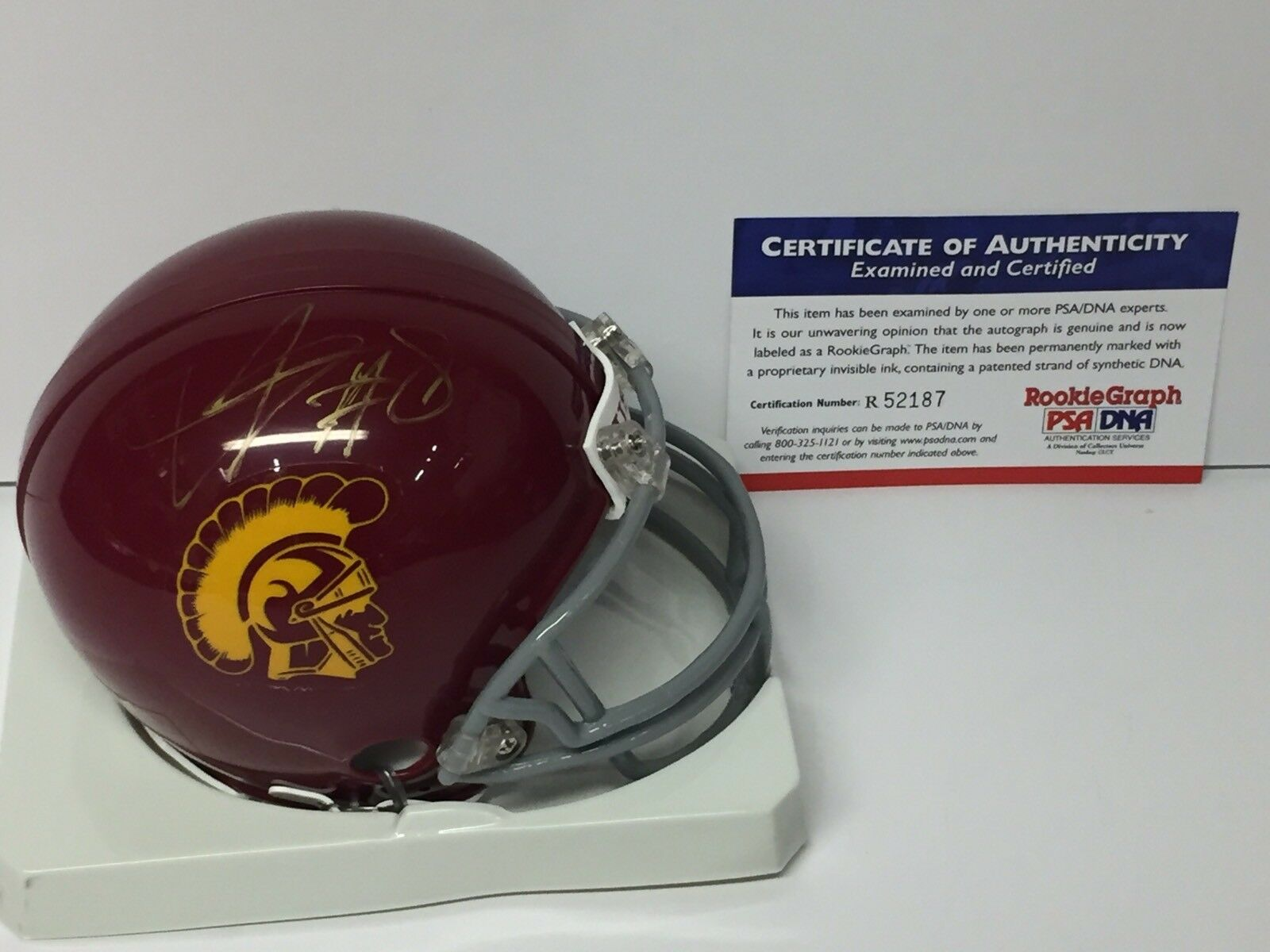 Dwayne Jarrett Signed USC Trojans Football Mini-Helmet PSA Rookie Graph
