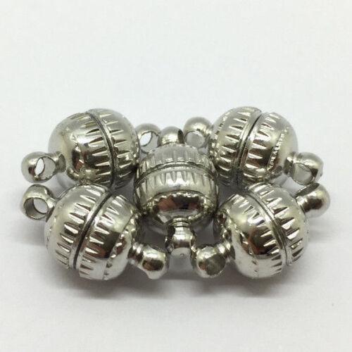 1114 5 Magnet Schließer 13x8 Messing Verschluss Schmuck Kette Verbinder Platin