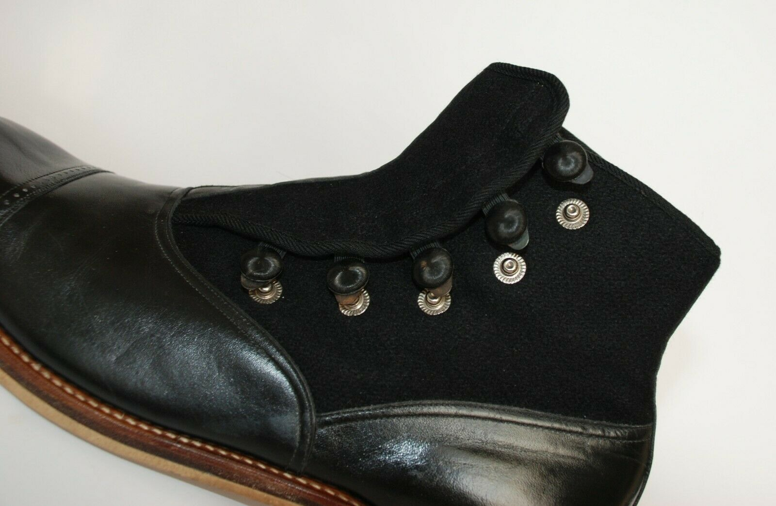 STUNNING PAIR OF ORIGINAL 1930S BLACK LEATHER AND… - image 7