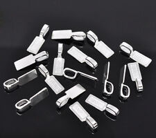 50Pcs Silver Plated Tag Glue on Bail Jewelry Making Diy Findings Charms 26x8mm