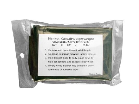 "Olive Drab GI Type Metalized Lightweight 52"" x 84"" Survival Blanket Rothco 9070"