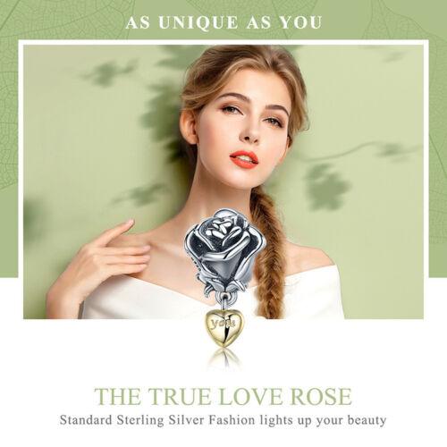 Bamoer Real 925 Sterling Silver Charm Amour Fleur Rose Pour Bracelet Bijoux