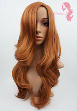 W87 Auburn Dark Ginger Long Wavy Wig Synthetic Skin Top