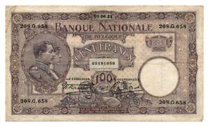 BELGIUM-banknote-100-FRANCS-1921-VF