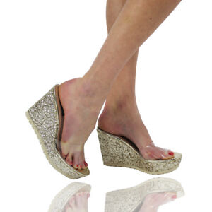 Details about New Ladies Women Girls Perspex High Heels Clear Strap Wedges  Party Shoe Size 3-8