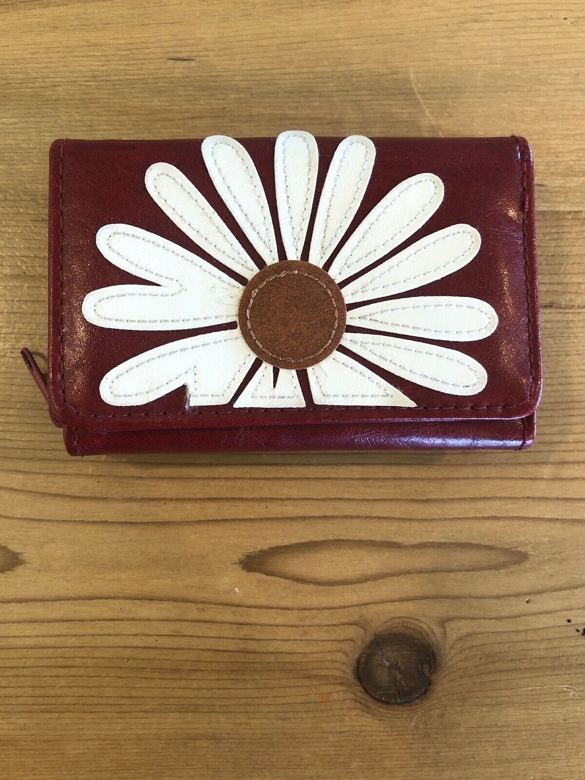 Lavishy Wallet Red Daisy Flower Vegan Faux Leather Rare Ladybug