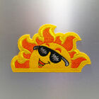 Cool Sun Patch — Iron On Badge Embroidered Motif — Happy Cute Fun Applique