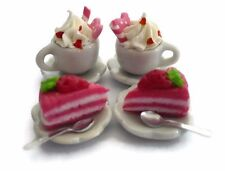 Set of Coffee and Fruit Cream Cake Dollhouse Miniatures Food Bakery Yummy-9