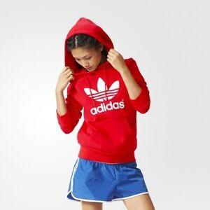 Adidas Originals Trefoil Hoodie Frauen Sz: M NWT AJ8057 Red Hoody