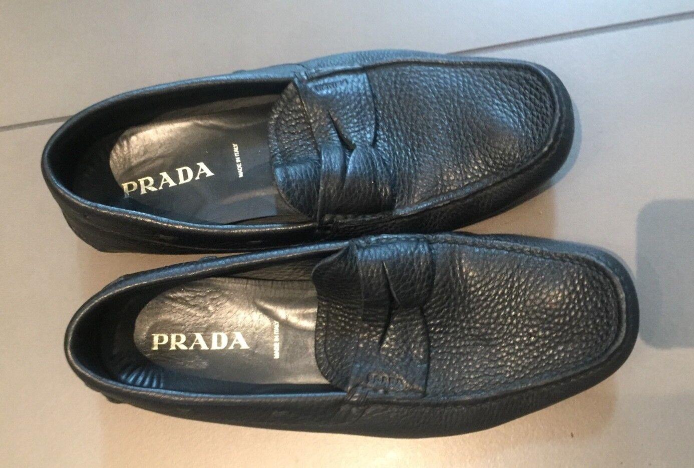 5e6c4a541 Homme Cuir Noir Prada mocassins - 10.5 onjehw2807-Chaussures ...