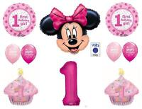 Minnie Mouse 1st First Happy Birthday Party Balloons Decoration Supplies Cupcake