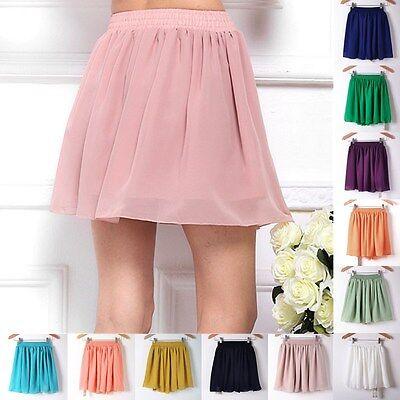 Summer Tulle High Waist Pleated Short Women Chiffon Skirt Skirts Black Red