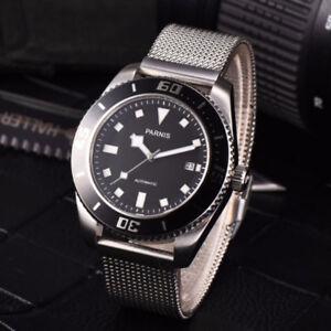 Herren-Saphirglas-43mm-Parnis-21-Steine-Miyota-Automatische-Armbanduhren-Uhren