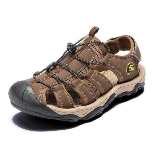 Mens Hiking Leather Sandals Wading Closed Toe Fisherman Soft Beach Shoes 2019