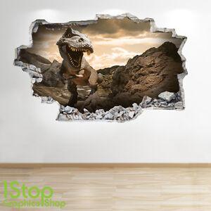 Dinosaurio-adhesivo-pared-3d-Aspecto-Nina-Nino-Dormitorio-Infantil-T-Rex-Z117