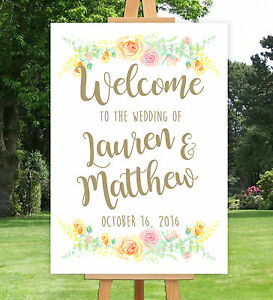 PERSONALISED-WELCOME-TO-OUR-WEDDING-SIGN-UN-BACKED-A3-A2-A1-FLORAL-VINTAGE