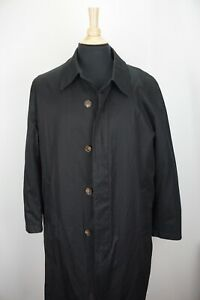 Brooks-Brothers-Solid-Black-Removeable-Liner-Mens-Overcoat-Trench-Jacket-Sz-M