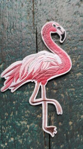 Patch Flamingo rosa Vogel Bügelbild Applikation Flicken DIY