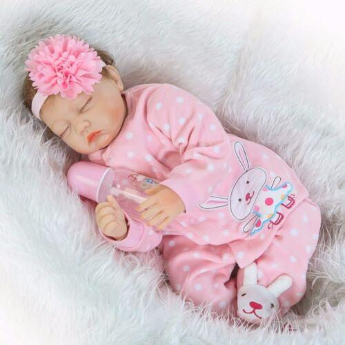 "22/"" Sleeping Girl Handmade Lifelike Realistic Newborn Silicone Reborn Baby Doll"