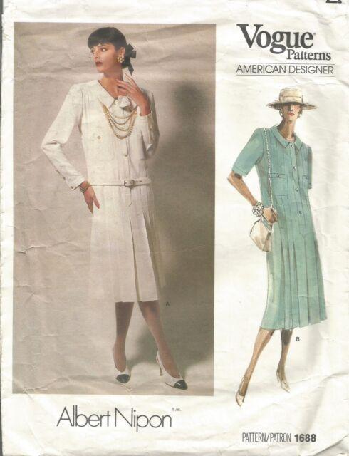 Vogue Designer Sewing Pattern 1688, Albert Nipon Vintage Dress, Size 16
