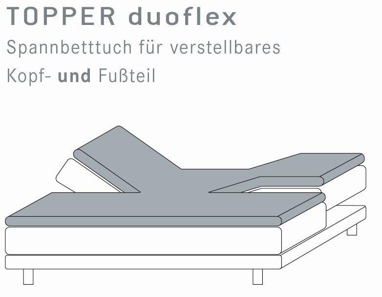 Split Topper Spannbetttuch 160x210 160x220 Kneer Q22 Einschnitt Kopf & Fußteil