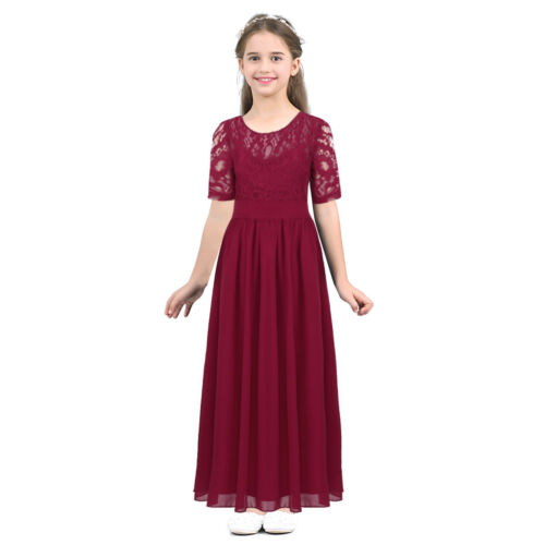 Flower Lace Girls Princess Dress Kids Party Wedding Pageant Formal Gown Dresses
