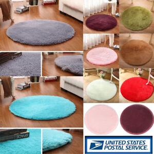 Round-Soft-Fluffy-Anti-Skid-Carpets-Rugs-Area-Bedroom-Bathroom-Room-Floor-Mat-US
