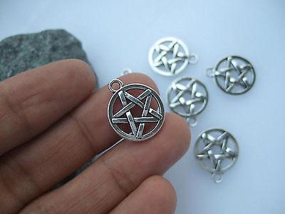 20 x Tibetan Silver Pentagram Pentacle 16mm Charms Pendants Beads Wiccan Pagan