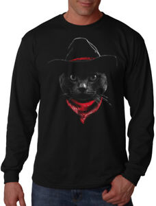 a1d4b4d84 Men's Cowboy Cat Long Sleeve Black T Shirt Kitten Funny Western ...