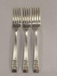Oneida-Coronation-Gemeinschaft-3-Dinner-Gabeln-Silverplate-Bestecke-7-3-8-cm