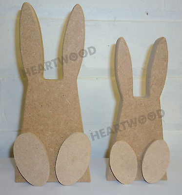 //WOODEN CRAFT SHAPE//DECORATION 148mm x 18mm thick RABBIT SHAPE WITH FEET IN MDF