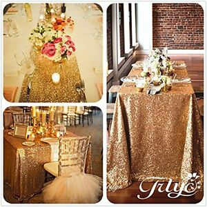 Sparkly Hot Sale Gold Sequin Tablecloth for Wedding Party Christmas Any Size