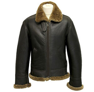 Men-039-s-Aviator-B3-Ginger-Real-Shearling-Sheepskin-Leather-Bomber-Flying-Jacket