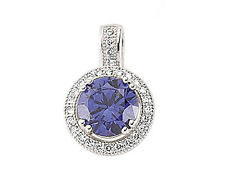 Platinum Plated Sterling Silver Tanzanite Round & Clear Pendant