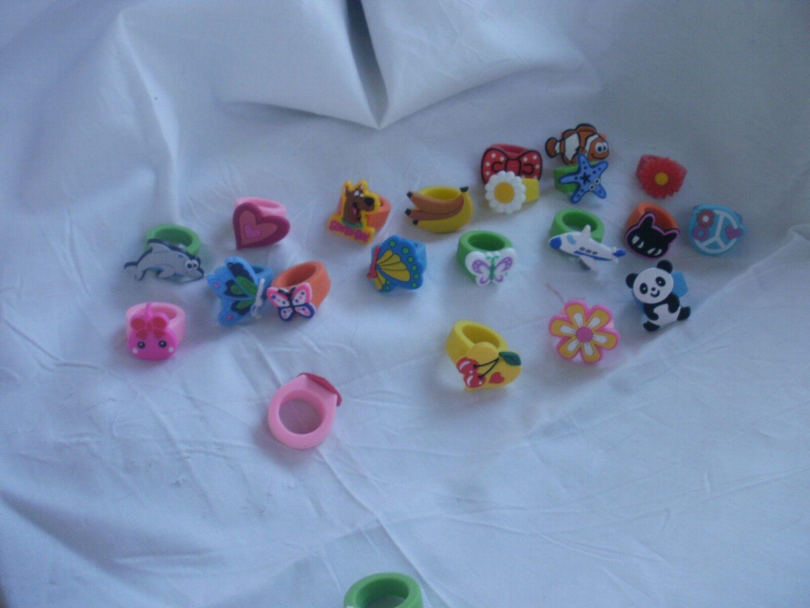 10x Kids Cartoon Rings toy Plastic Children Kids Animals Flowers Finger Ring SP