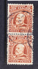 NEW ZEALAND GV 1910 SG395 3d chestnut line perf 14 f/u pair. Cat £40 as singles