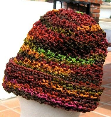 JEWEL TONE WEAR IT 2 WAYS SLOUCH OR BRIM UP HAND CROCHETED HAT W/ FREE SHIPPING