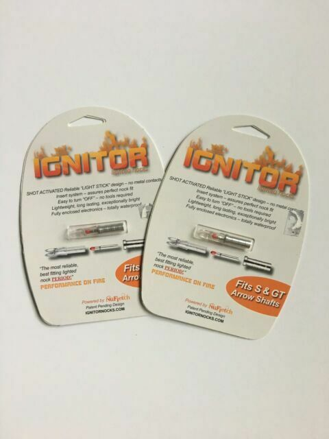 IGNITOR LIGHTED NOCKS 5 NUFLETCH ARCHERY FITS S /& GT ARROW SHAFTS RED