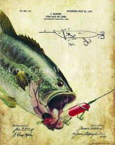 Fishing-Lure-Patent-Art-Print-Vintage-Largemouth-Bass-Fish-Cabin-Decor-PAT427