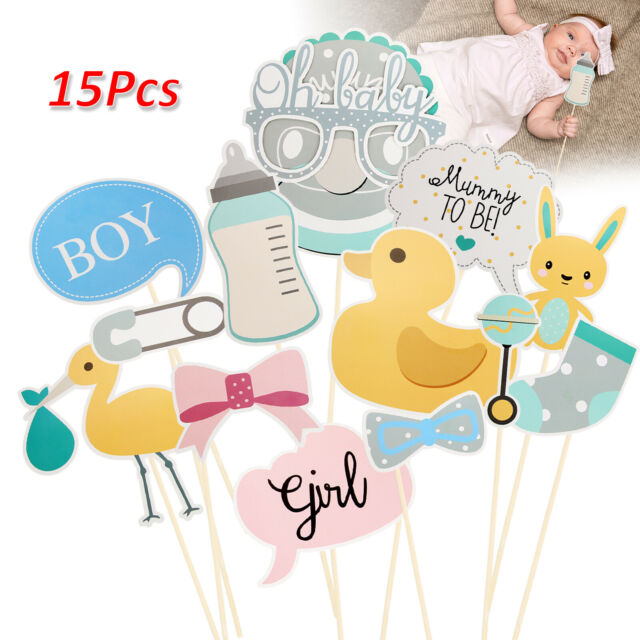 Unisex 15pcs Oh Baby Photo Booth Props Birthday Baby Shower Party Decoration