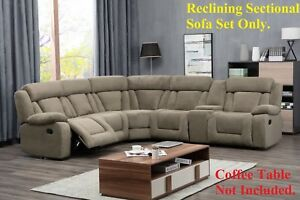 Details about Modern Contemporary Tan Reclining Sectional Sofa Set Wedge  Recliners Couch