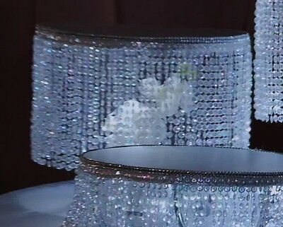 "Crystal Beaded 10"" round tier ,with acrylic diamond cut For Cake Stand"