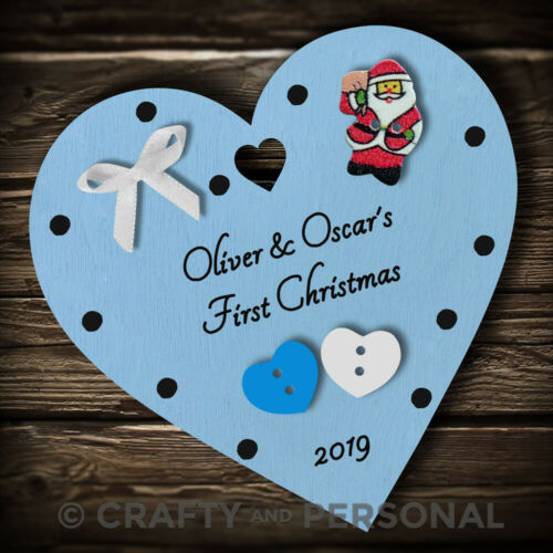 Personalised Baby Twins First 1st Christmas Bauble Heart tree decoration
