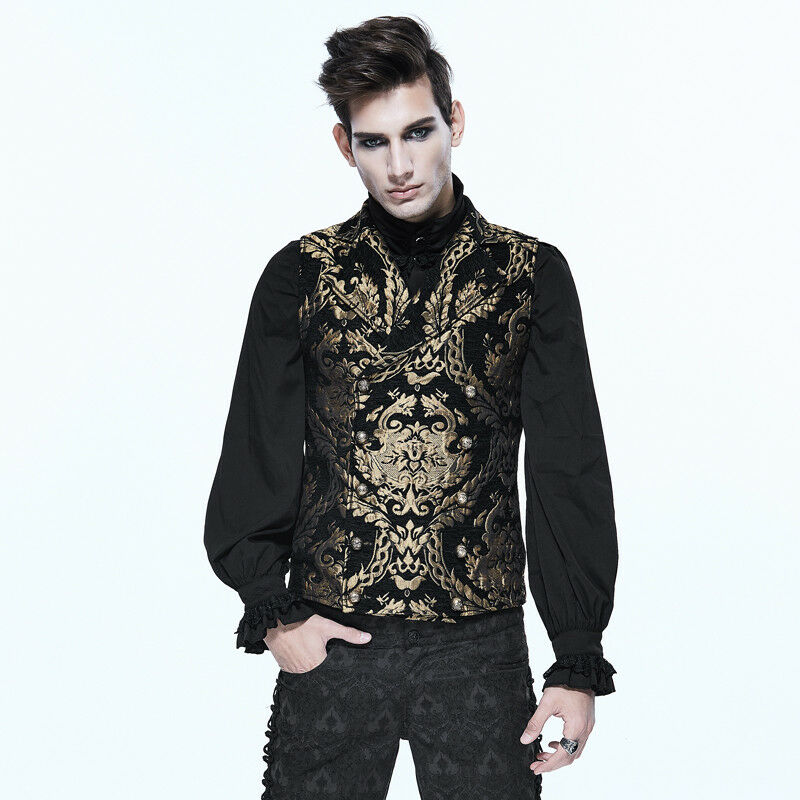 Devil Fashion WT01301 Gothic  Double Breasted Embroidered Damask gold Waistcoat