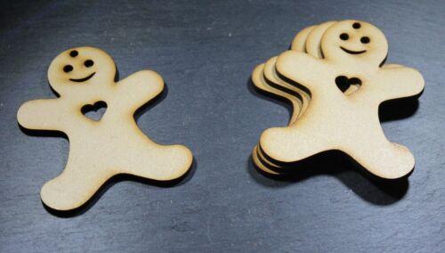 Ginger Bread men X10 Gingerbread Man MDF Blank Christmas Decoration Wood 64x80mm
