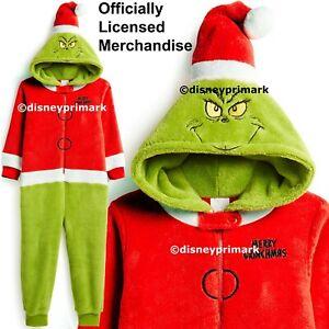 100% autentico 2ad5c a380f Dettagli su UFFICIALE Il Grinch Onesy Ragazzi Ragazze Costume Natale  Bambino Pigiama Pj Pigiama- mostra il titolo originale