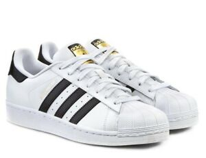 sports shoes 86d40 cd3a6 ADIDAS SUPERSTAR ORIGINALS scarpe uomo sportive sneakers pelle bianco  passeggio