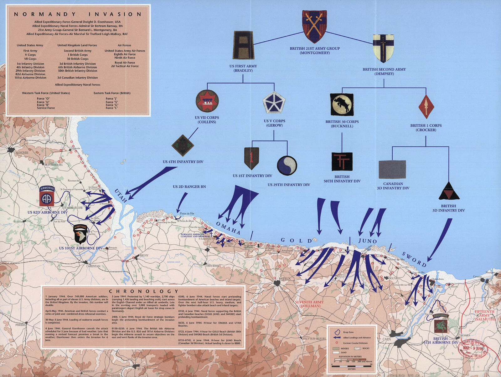 1944 War Map D-Day 6th of June Normandy Military WWII History Poster Wall  Art