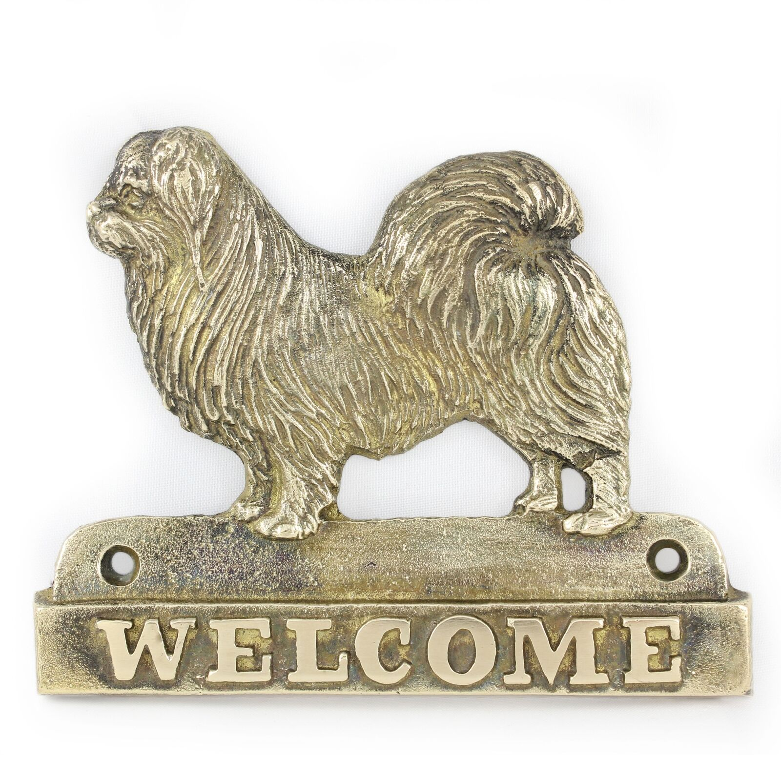 Tibetan Spaniel - brass tablet with image of a dog, Art Dog